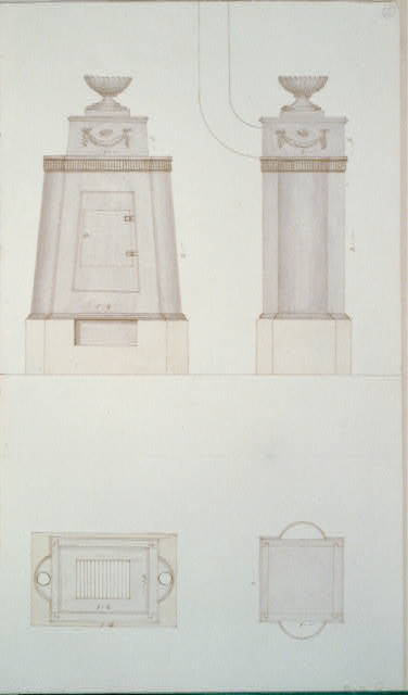 [Design drawing for a stove. Front, side, and top]