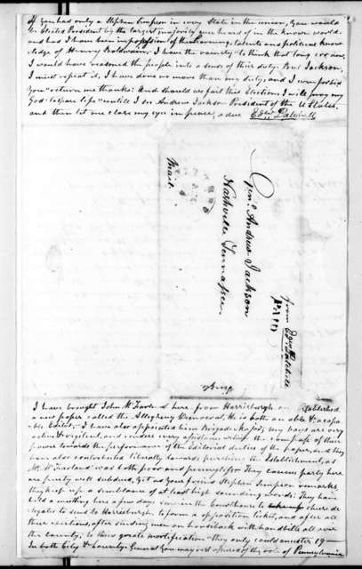 Edward Patchell to Andrew Jackson, August 7, 1824
