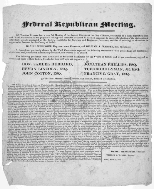 Federal republican meeting. On Tuesday evening last, a very full meeting of the Federal electors of the City of Boston, constituted by a large deputation from each ward, was holden for the purpose of taking such measures as should be deemed expe