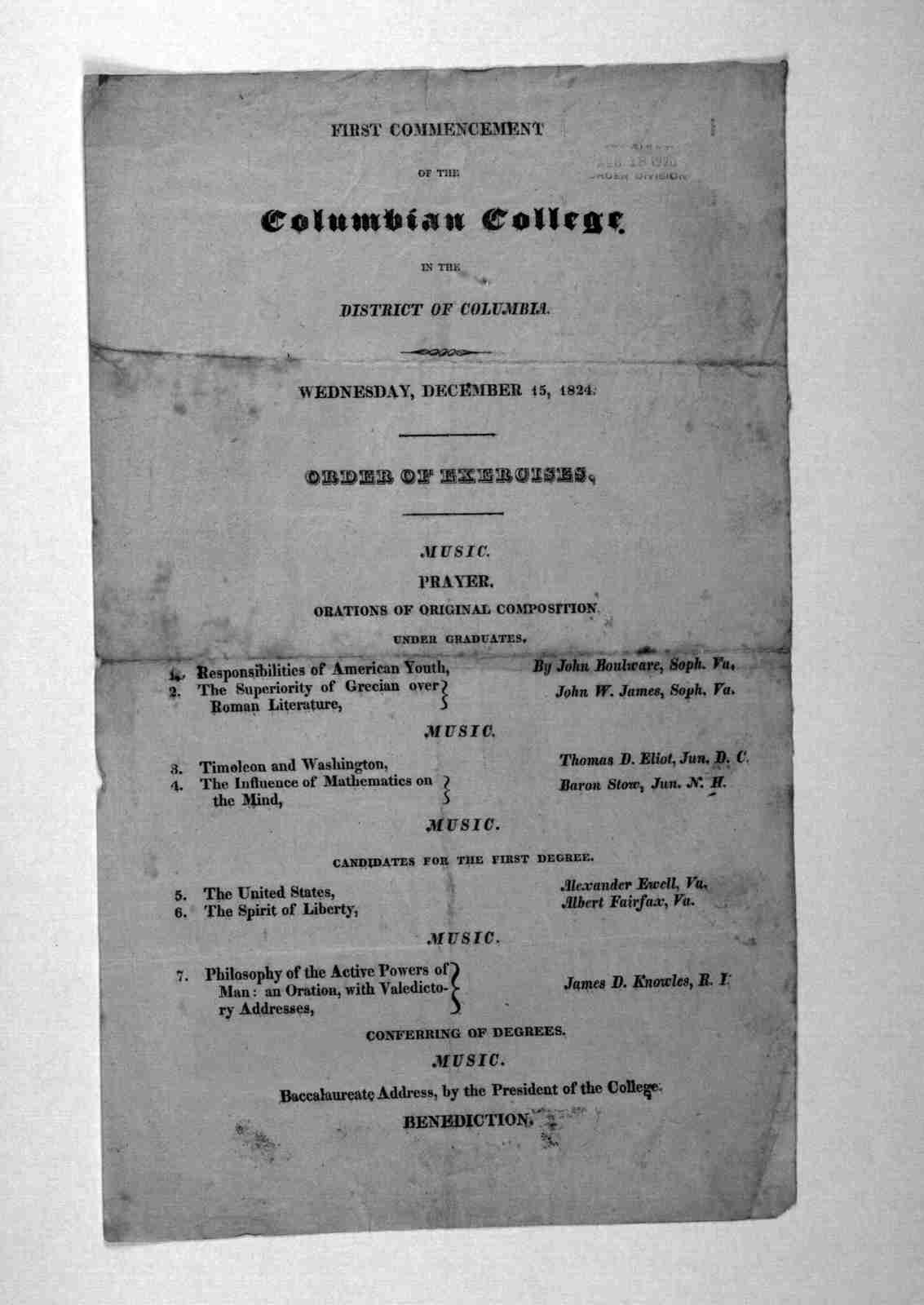 First commencement of the Columbian College, in the District of Columbia, Wednesday, December 15, 1824. [Washington, D. C. 1824].