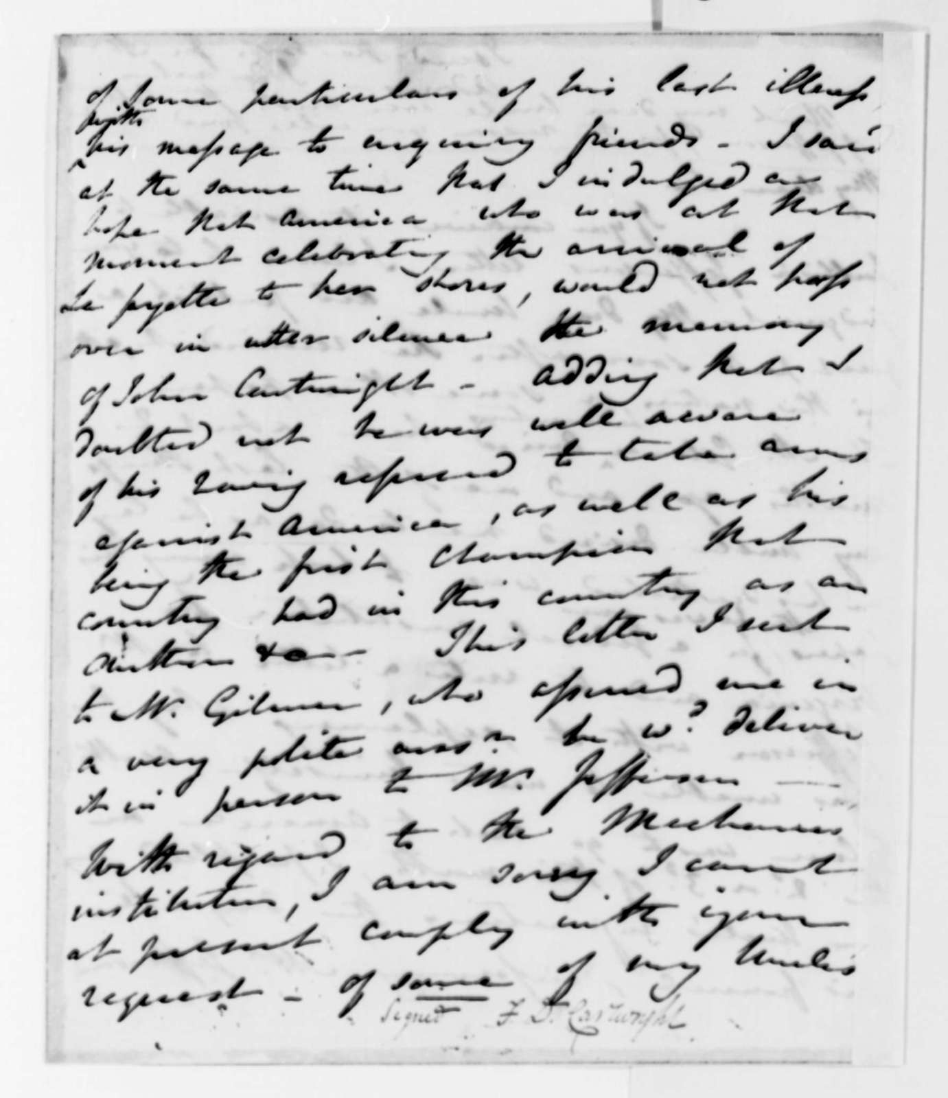 Frances D. Cartwright to John B. Gilchrist, November 1, 1824