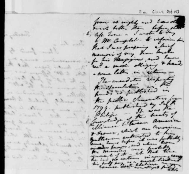 Frances D. Cartwright to John B. Gilchrist, October 15, 1824