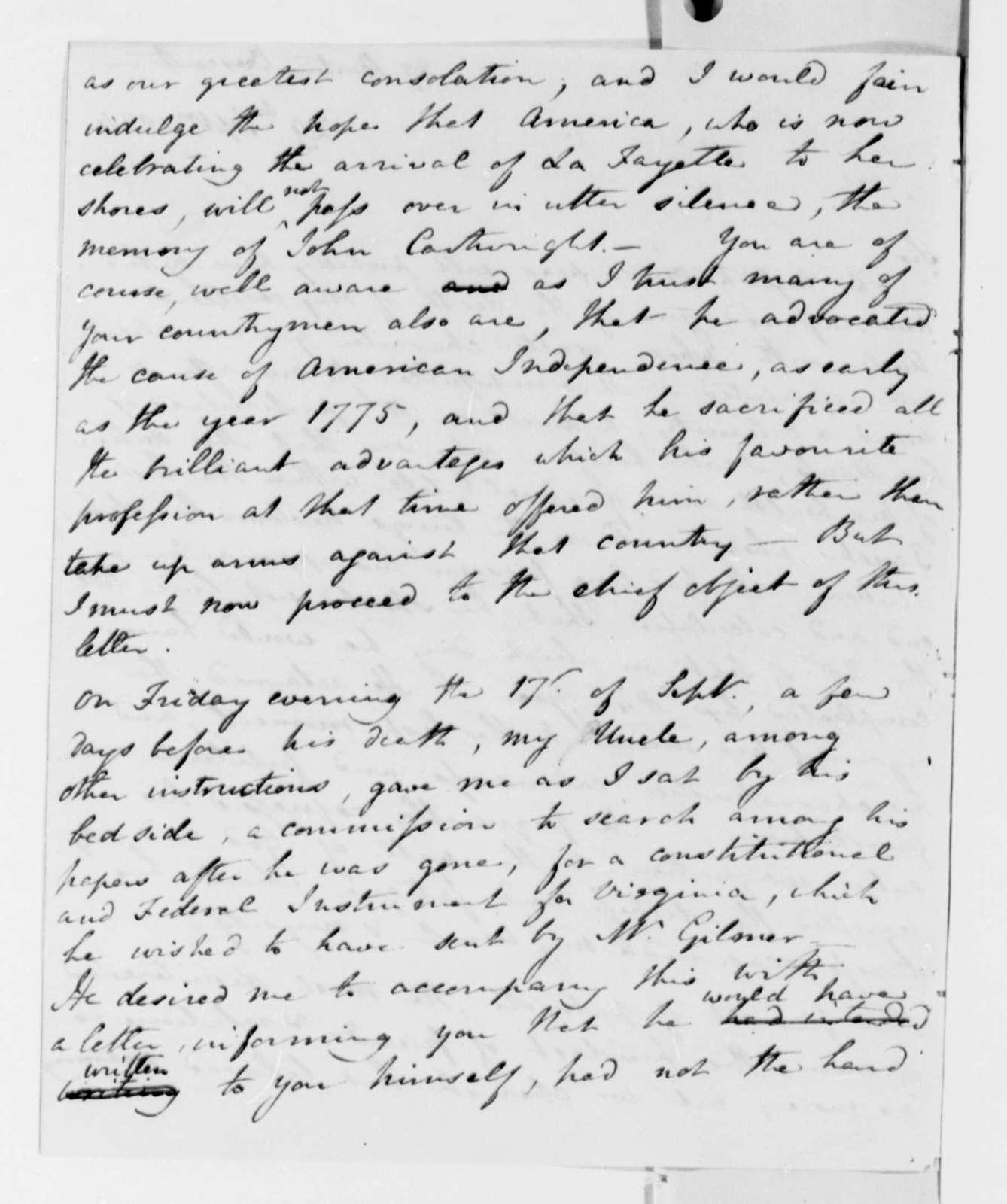 Frances D. Cartwright to Thomas Jefferson, September 29, 1824