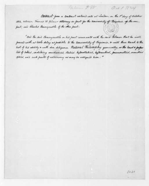 Francis W. Gilmer & C. Bonnycastle, October 1, 1824. Extract of contract bewteen Francis W. Gilmer and Charles Bonnycastle.