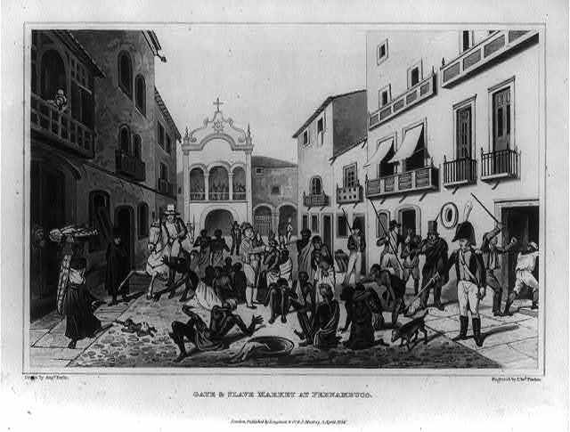 Gate & slave market at Pernambuco / drawn by Augs. Earle ; engraved by Edwd. Finden.