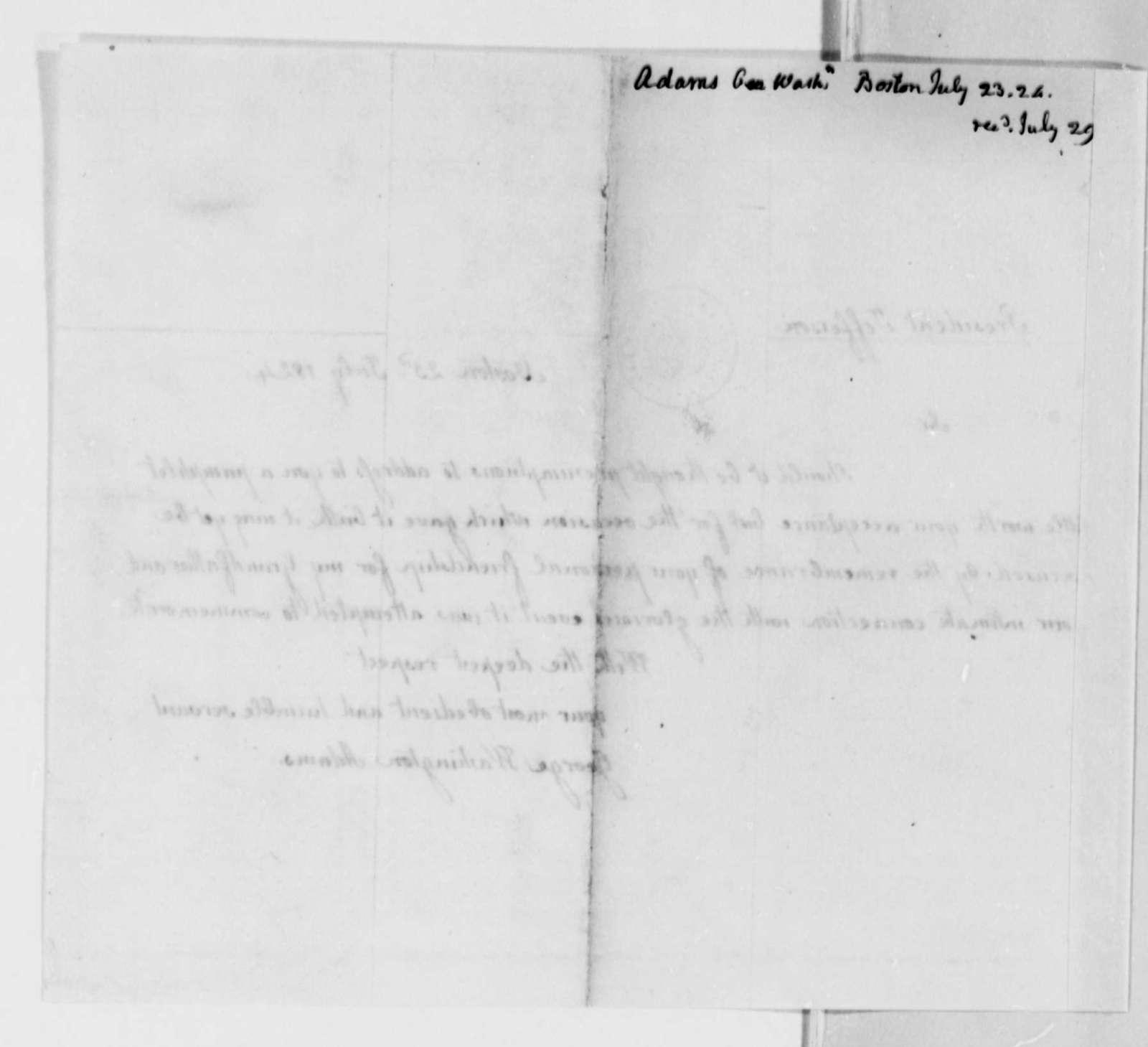 George Washington Adams to Thomas Jefferson, July 23, 1824