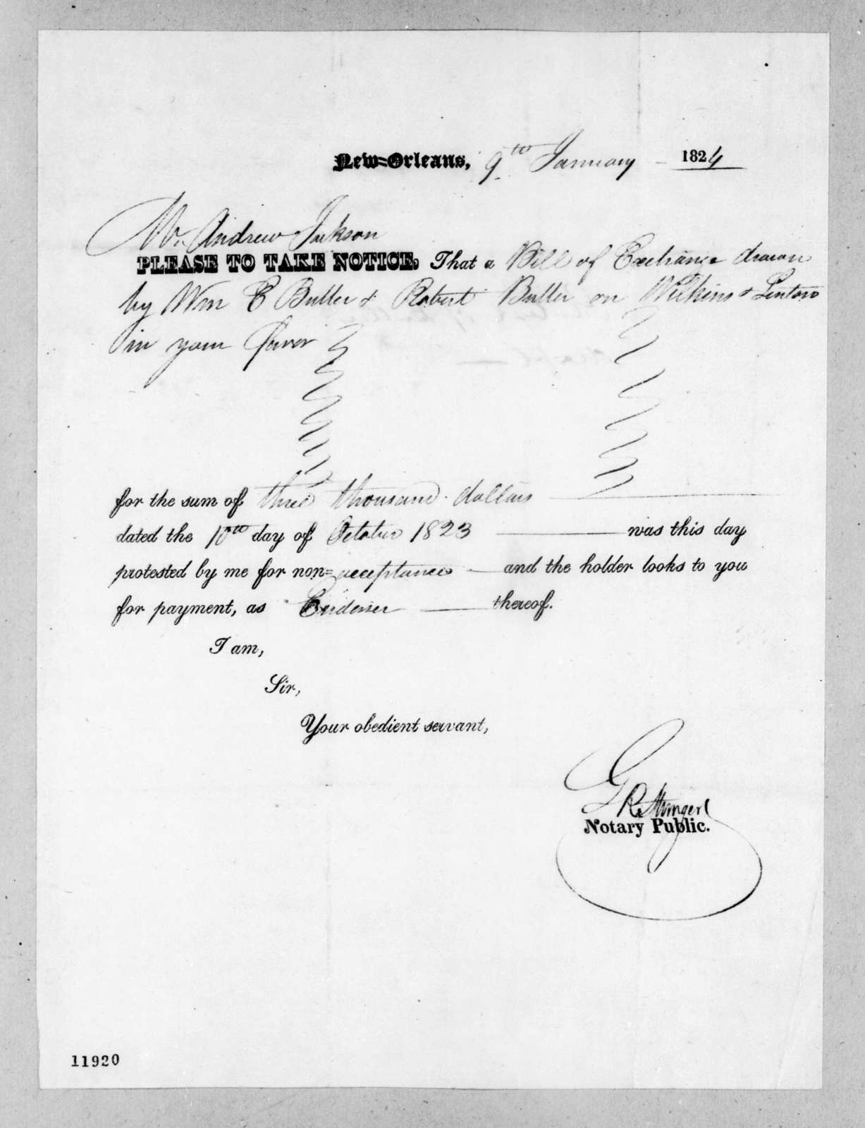 Greenbury Ridgely Stringer to Andrew Jackson, January 9, 1824