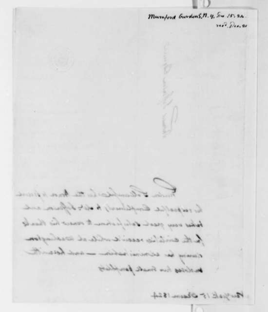 Gurdon S. Mumford to Thomas Jefferson, December 15, 1824