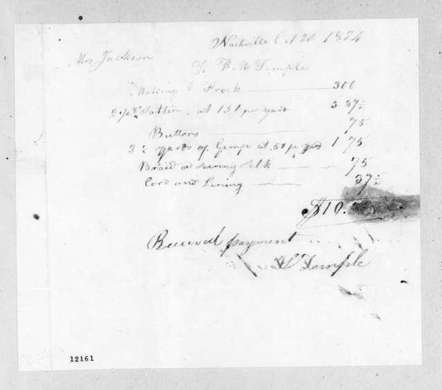 Harriett M. Temple to Rachel Donelson Jackson, October 20, 1824