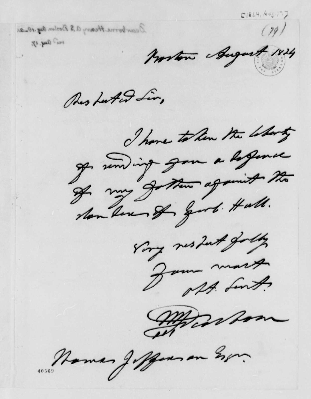 Henry A. S. Dearborn to Thomas Jefferson, August 17, 1824