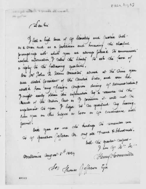 Henry V. Somerville to Thomas Jefferson, August 5, 1824