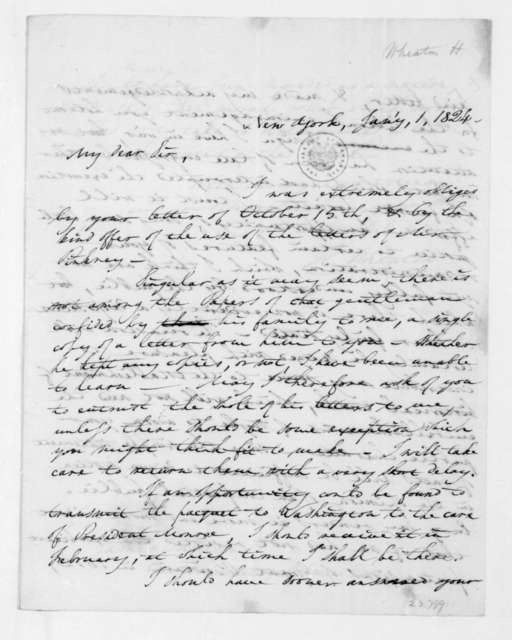 Henry Wheaton to James Madison, January 1, 1824.