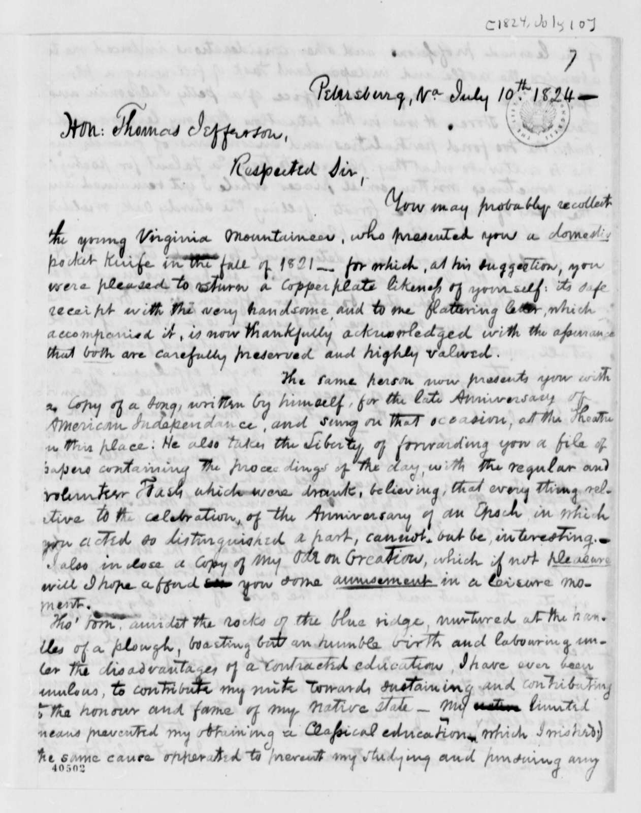 Hiram Haines to Thomas Jefferson, July 10, 1824