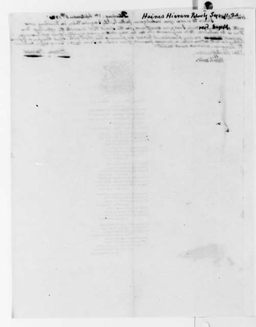 Hiram Haines to Thomas Jefferson, September 11, 1824, on Broadside