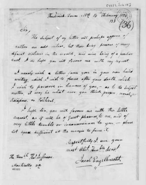 Jacob Engelbrecht to Thomas Jefferson, February 14, 1824