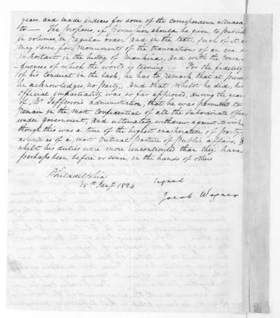 Jacob Wagner to James Madison, January 15, 1824.