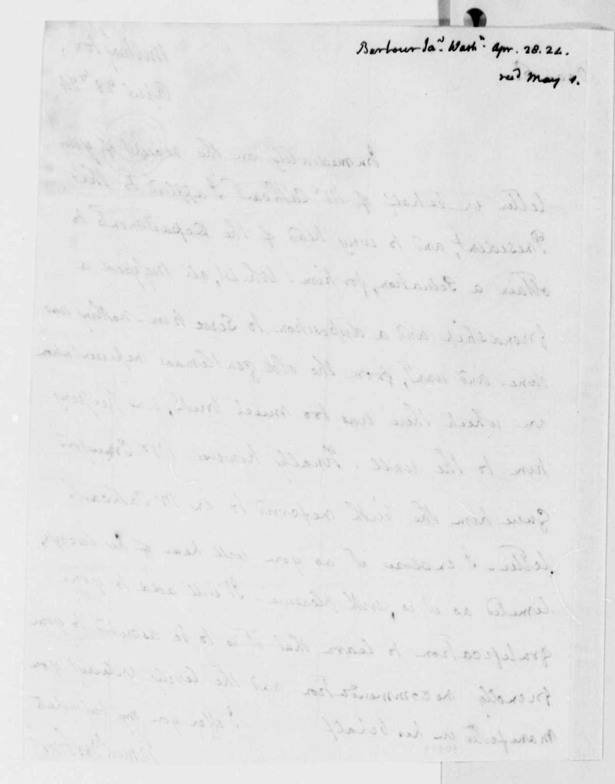 James Barbour to Thomas Jefferson, April 28, 1824