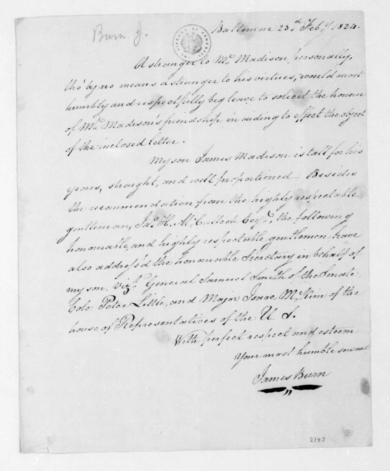 James Burn to James Madison, February 23, 1824.