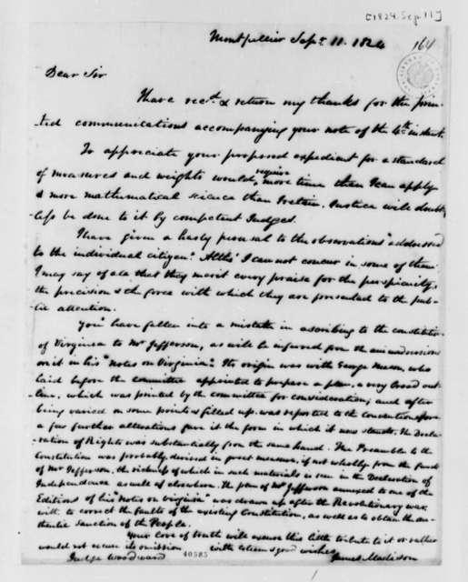 James Madison, Jr. to Augustus B. Woodward, September 11, 1824
