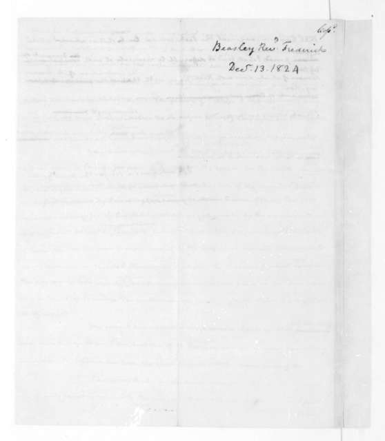 James Madison to Frederic Beasley, December 22, 1824.