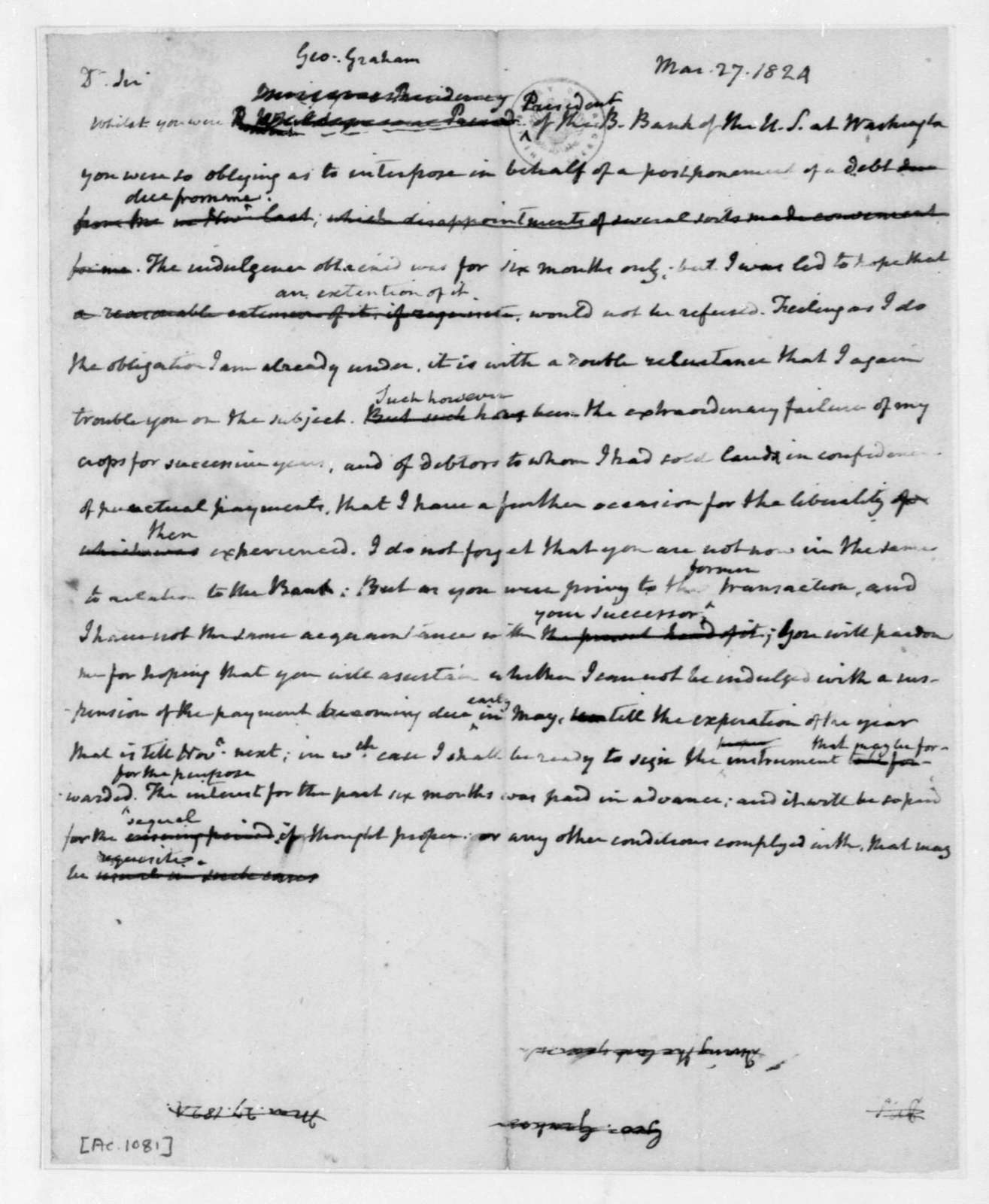 James Madison to George Graham, March 27, 1824.