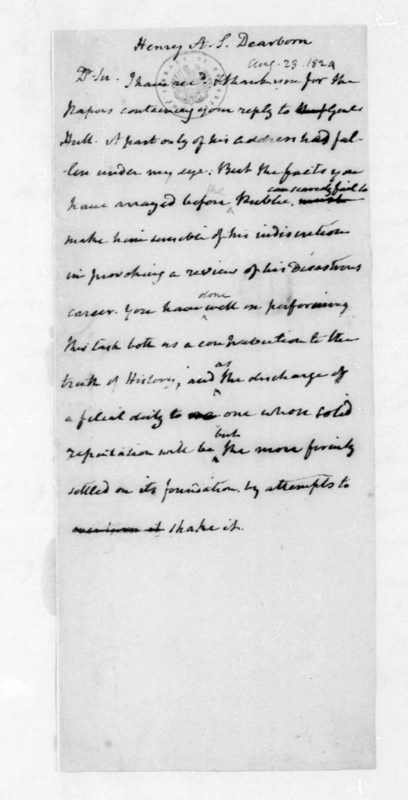 James Madison to Henry A. S. Dearborn, August 23, 1824.