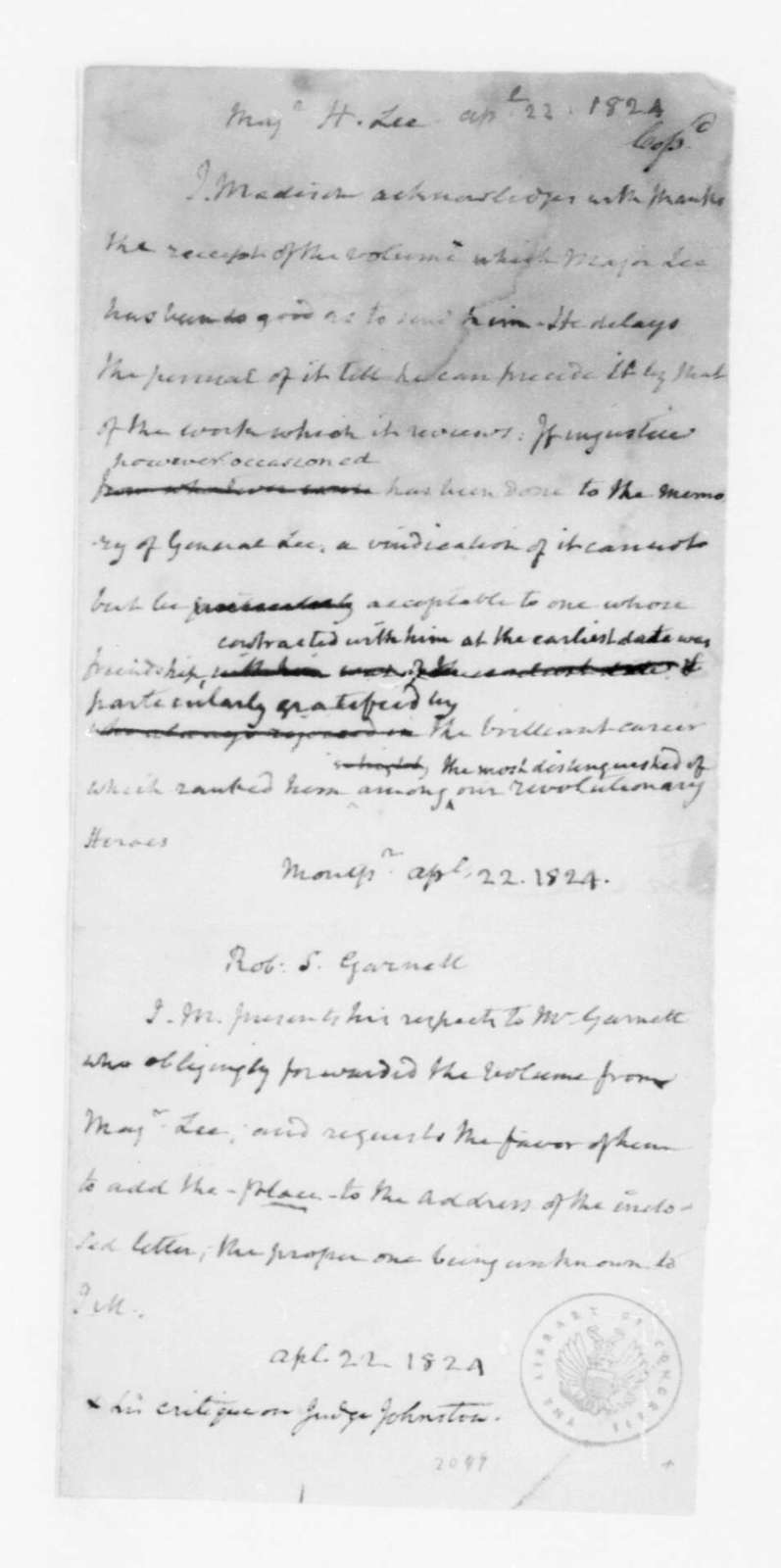 James Madison to Henry Lee and Robert Garnett, April 22, 1824.