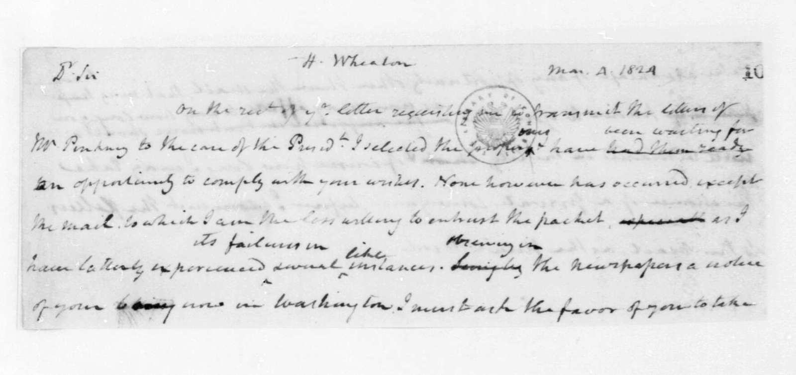 James Madison to Henry Wheaton, March 4, 1824.