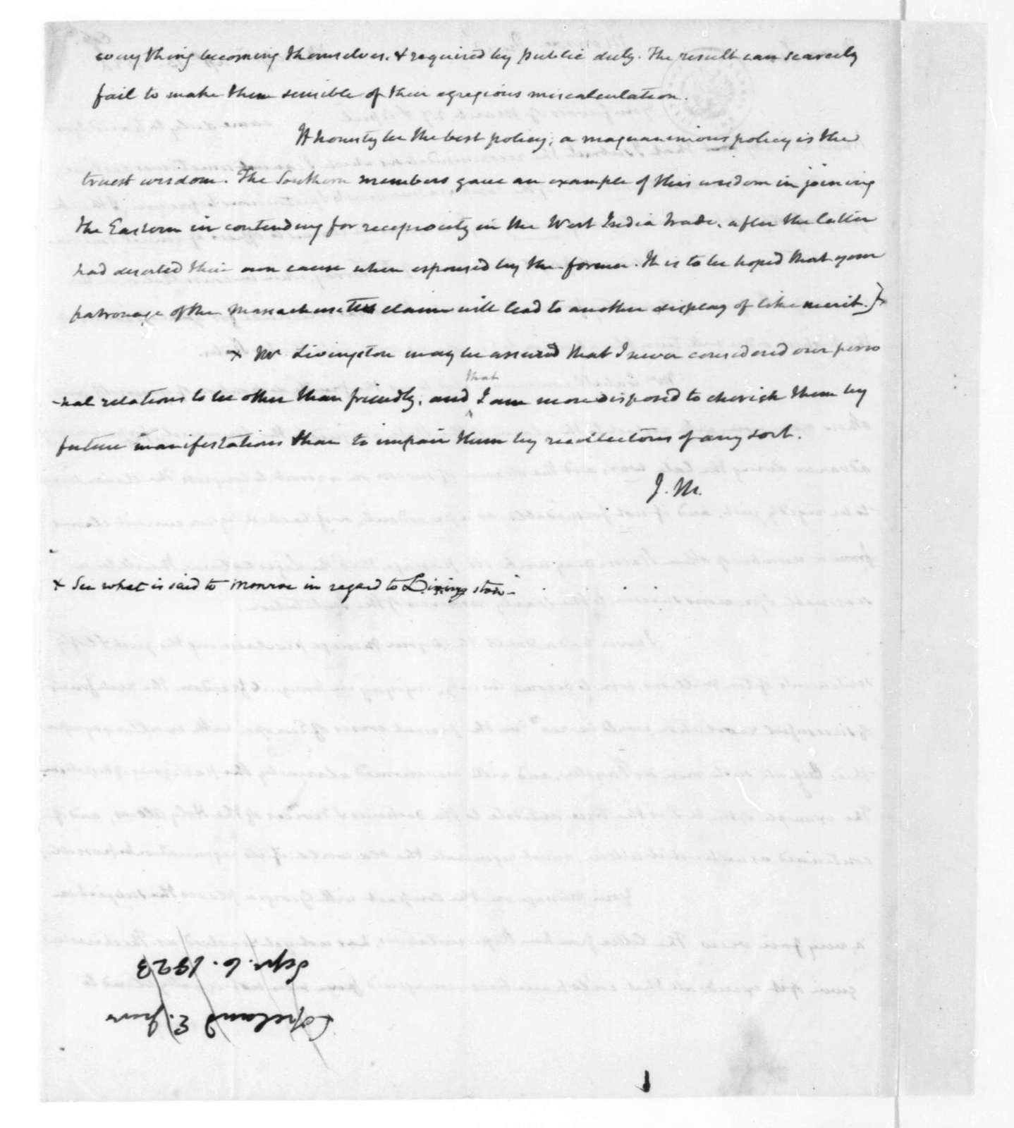 James Madison to James Monroe, April 10, 1824.