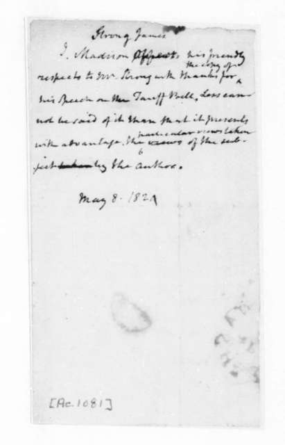 James Madison to James Strong, May 8, 1824.