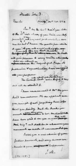 James Madison to John D. Hunter, October 20, 1824.