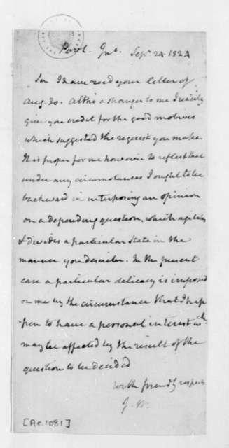 James Madison to John Pool, September 24, 1824.