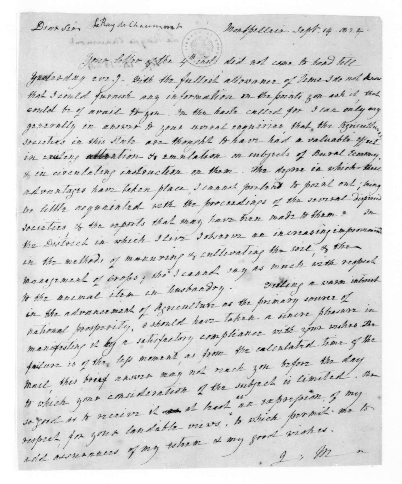 James Madison to Le Ray de Chaumont, September 14, 1824. With Copy.