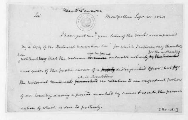 James Madison to Moses Dawson, September 25, 1824.
