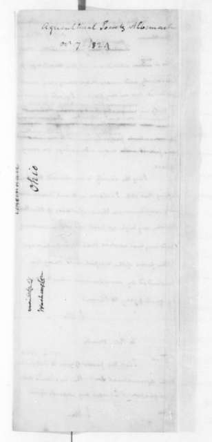 James Madison to Peter Minor, October 7, 1824. Albemarle County Virginia Agricultural Society.