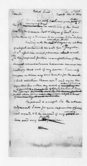 James Madison to Robert Lewis, November 10, 1824.