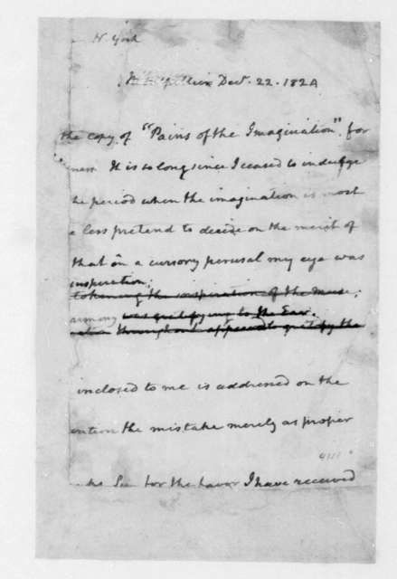 James Madison to Unknown (N. York?), December 22, 1824. Fragment.