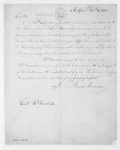 James Madison to W. Marshall, September 18, 1824.