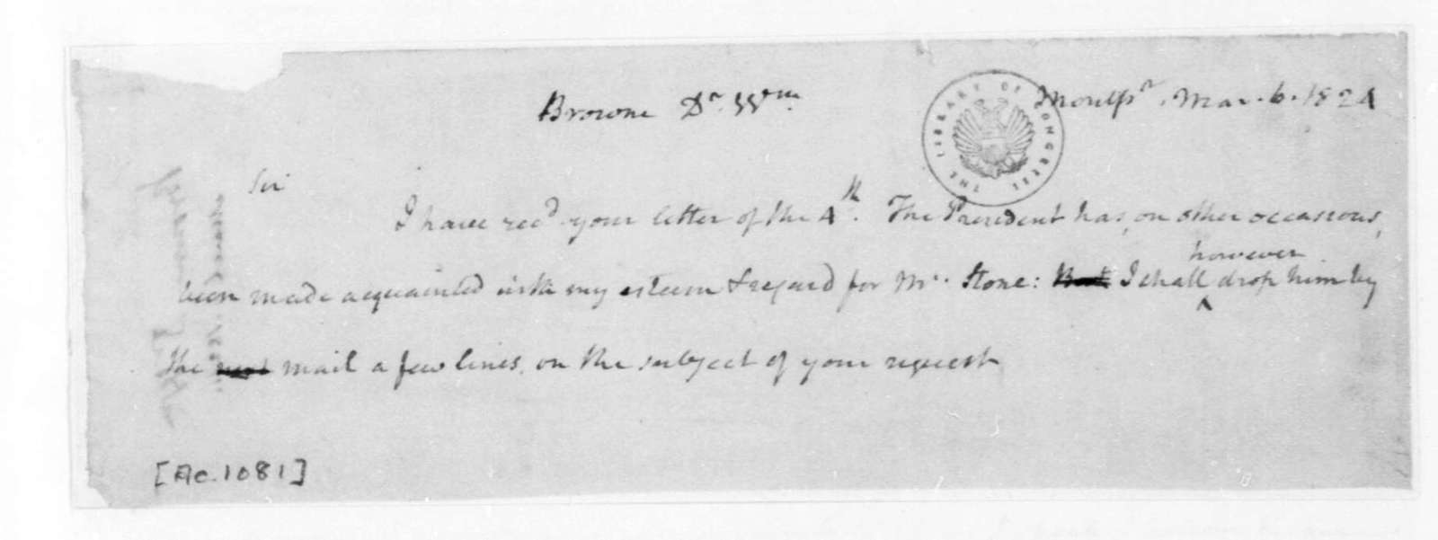 James Madison to William Browne, March 6, 1824.