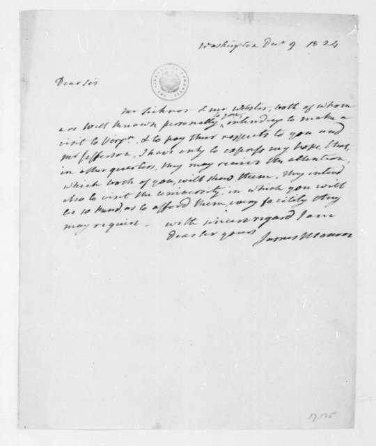 James Monroe to James Madison, December 9, 1824.