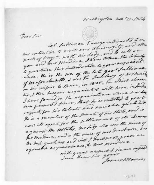 James Monroe to James Madison, November 11, 1824.
