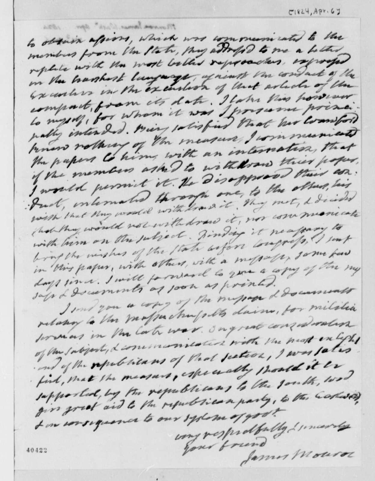 James Monroe to Thomas Jefferson, April 6, 1824