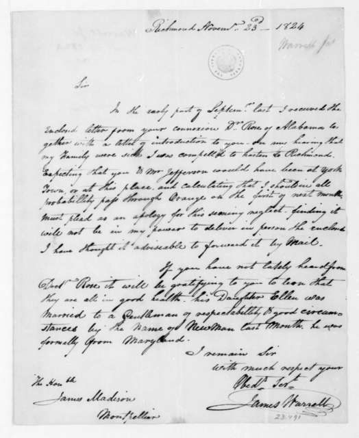 James Warrell to James Madison, November 23, 1824.