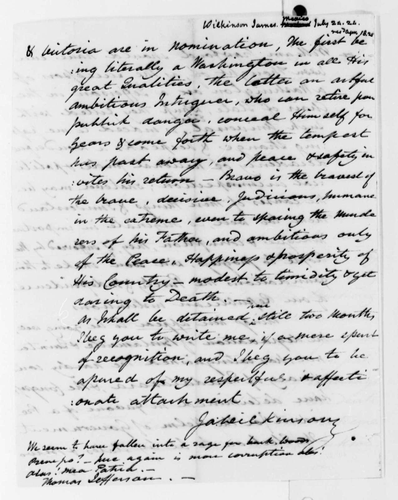 James Wilkinson to Thomas Jefferson, July 20, 1824