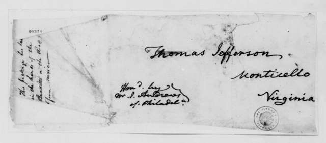 James Wilkinson to Thomas Jefferson, March 21, 1824, Cover of Package