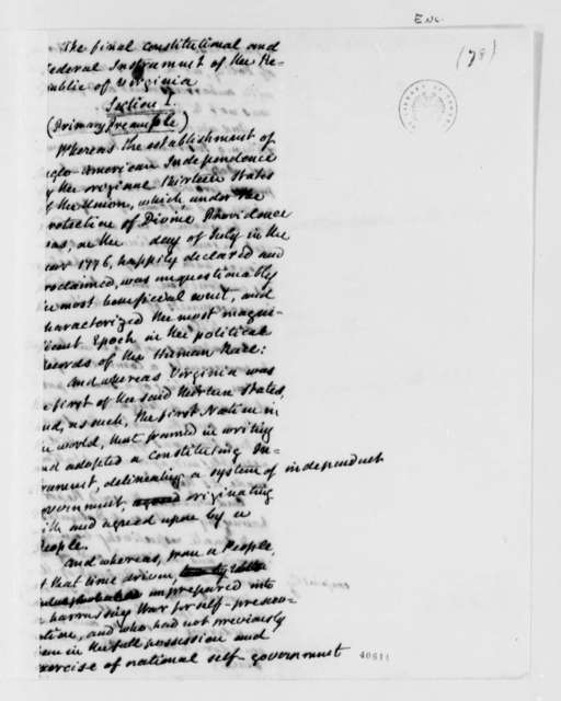 John Cartwright, 1824, Draft of the Virginia Constitution