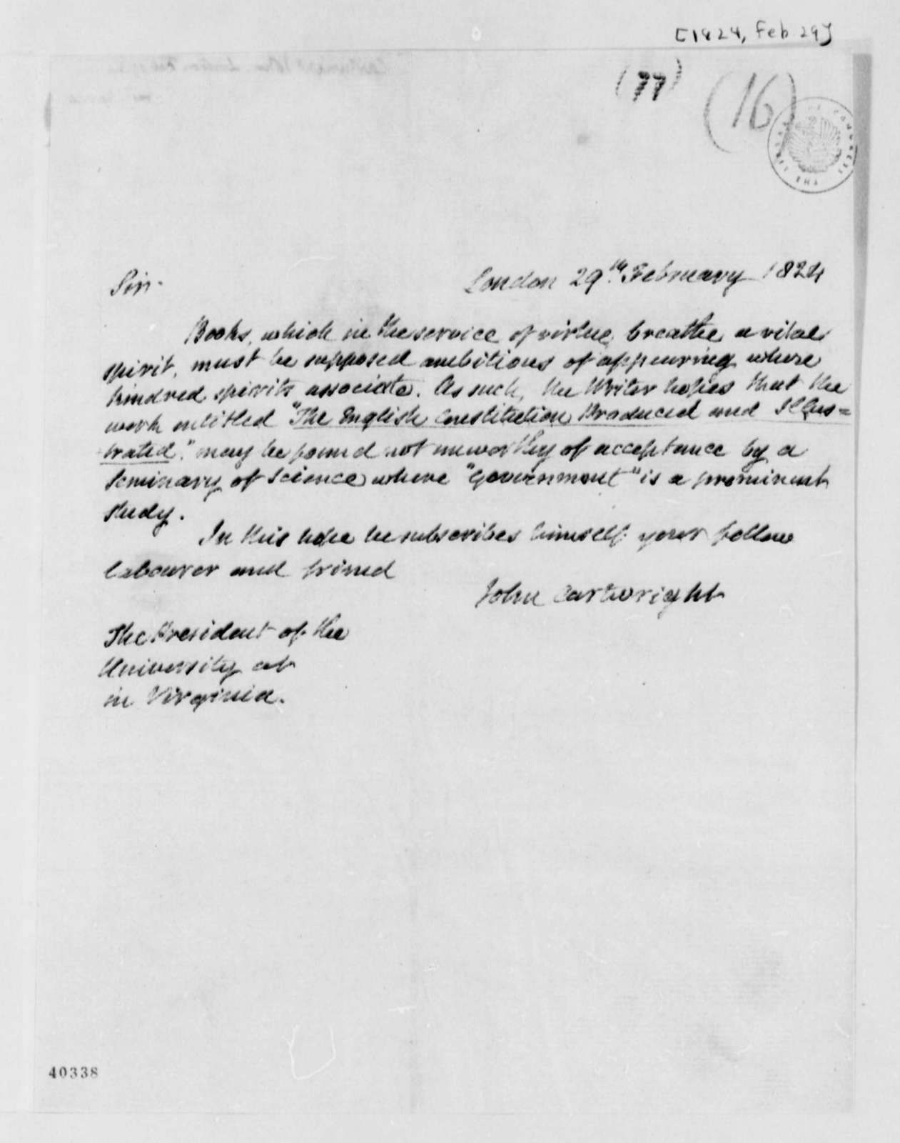John Cartwright to John Cartwright, February 29, 1824