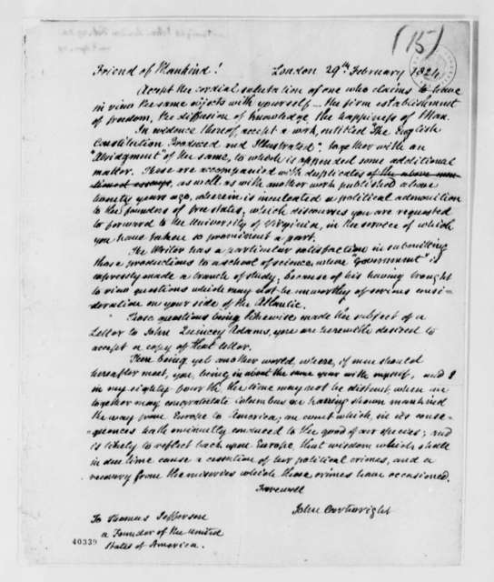 John Cartwright to Thomas Jefferson, February 29, 1824