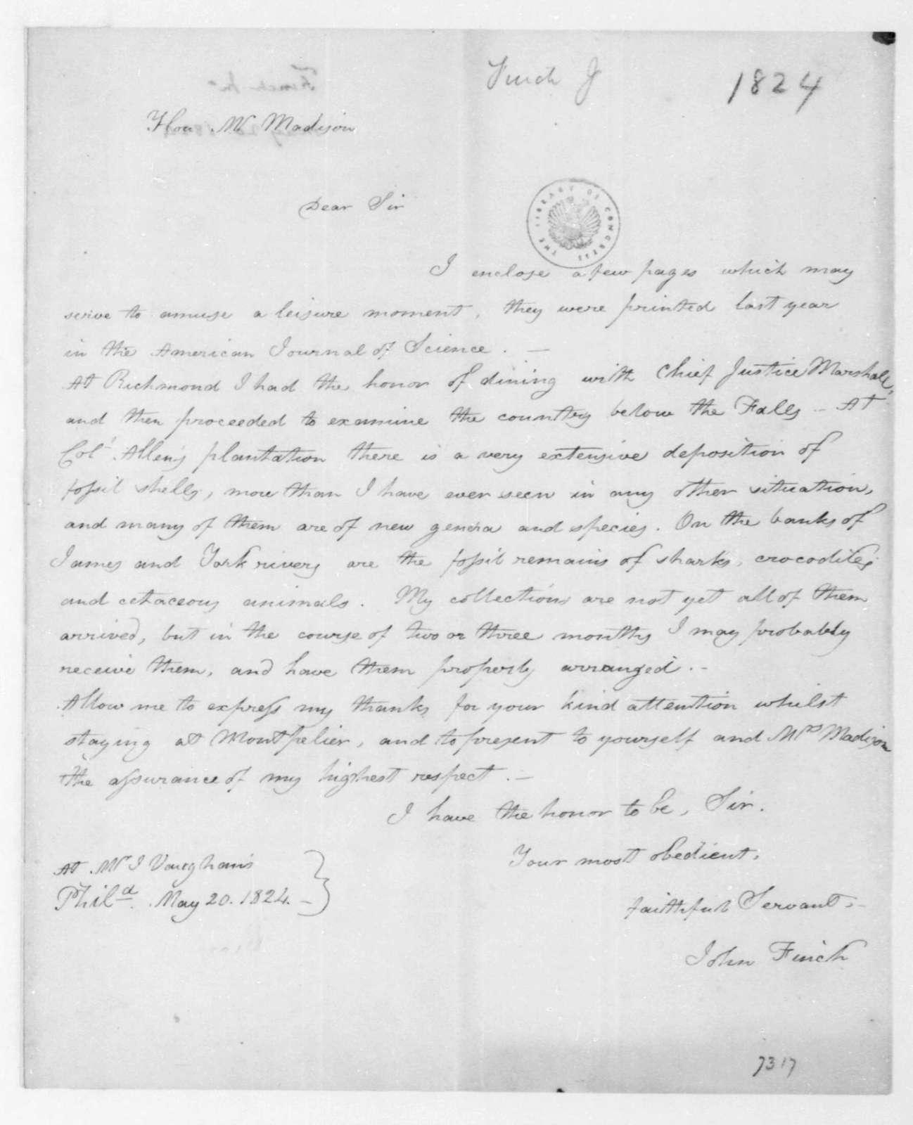 John Finch to James Madison, May 20, 1824.