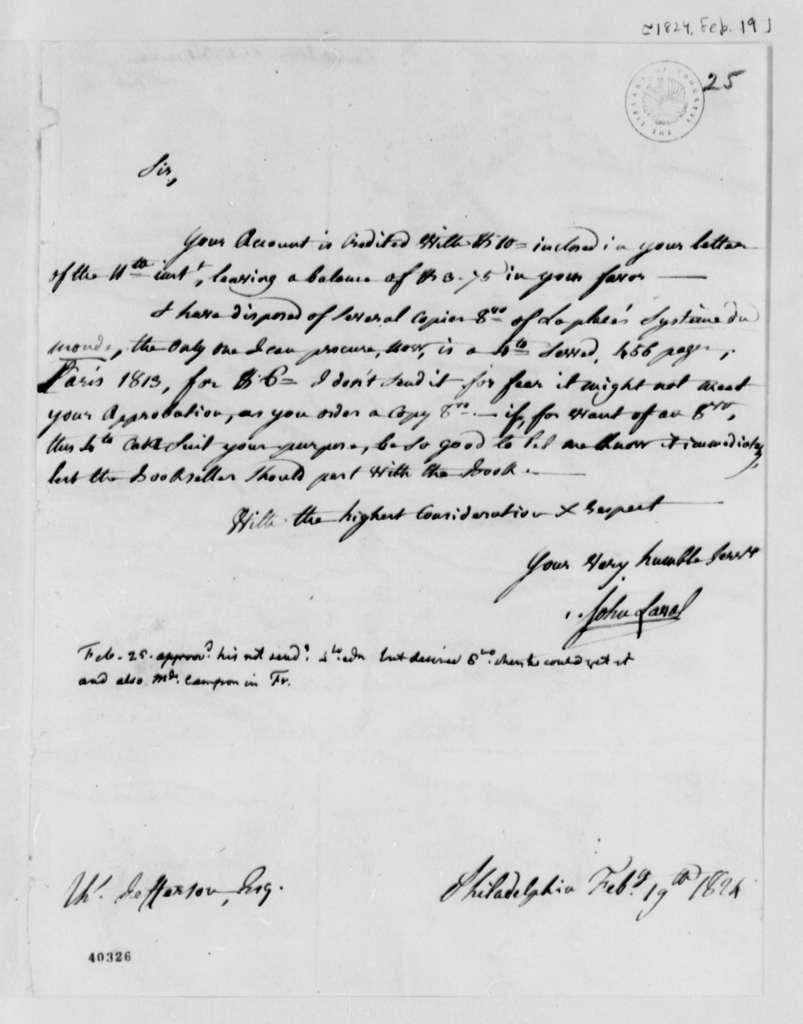 John Laval to Thomas Jefferson, February 19, 1824, with Thomas Jefferson Note